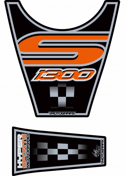 Motografix Tankpad schwarz-orange BMW K1300S Bj. 09-