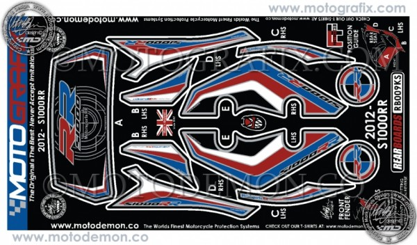 Motografix Aufkleberset Motorsportfarben schwarz Heck BMW S1000RR Bj. 12-