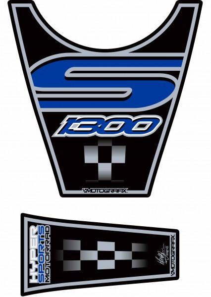 Motografix Tankpad schwarz-blau BMW K1300S Bj. 09-