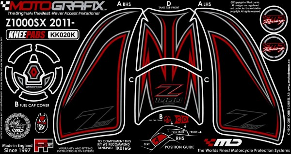 Motografix Aufkleberset Knie Kawasaki Z1000 SX Bj. 11-
