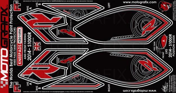 Motografix Aufkleberset Knie / Seitenverkleidung schwarz-rot BMW S1000R Bj. 14-
