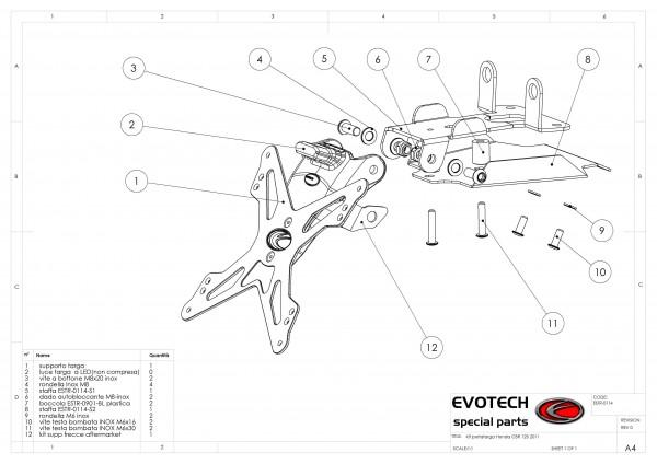 Evotech Kennzeichenhalter Honda CBR 125 R Bj. 11- / CBR 250 R Bj. 11-