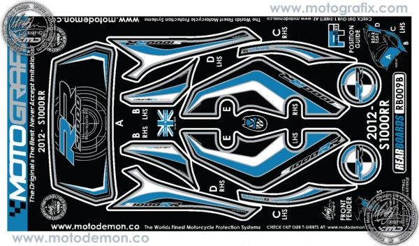 Motografix Aufkleberset Bluefire Heck BMW S1000RR Bj. 12-
