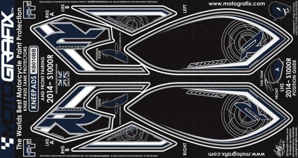 Motografix Aufkleberset Knie / Seitenverkleidung schwarz-weiß-blau BMW S1000R Bj. 14-