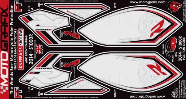 Motografix Aufkleberset Knie / Seitenverkleidung weiß-rot-schwarz BMW S1000R Bj. 14-
