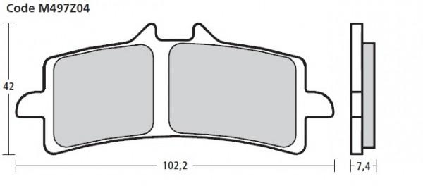 Brembo Racing Motorrad Bremsbelag Vollsintermischung Z04 / Typ M497Z04/ 1 STÜCK