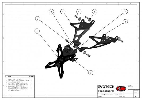 Evotech Kennzeichenhalter Honda CBR 600 Bj. 03-06  / 1000RR Bj. 04-07