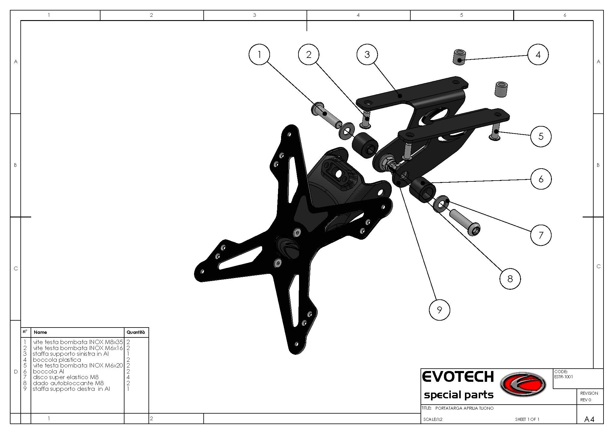 Evotech Motorrad Kennzeichenhalter aprilia RSV Mille / Tuono Bj. 05-