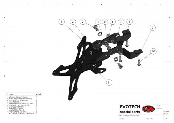 Evotech Kennzeichenhalter Kawasaki Versys Bj. 10-12